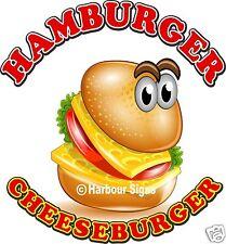 "Hamburger Cheeseburge Decal 14"" Food Truck Restaurant Concession Vinyl Sticker"
