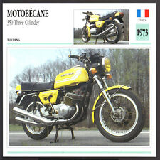 1973 Motobecane 350cc Three-Cylinder Motorcycle Photo Spec Sheet Info Stat Card