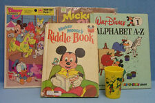 Vintage Lot of 7 Disney Items 3 Mickey Mouse Books & 1 Puzzle & 1 Plastic Glass
