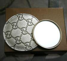 New GUCCI Silver Compact Mirror Guccissima Leather Pouch&Box 263560 8475