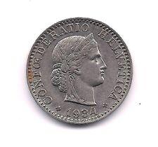 "1934-B  Switzerland Twenty  Rappen--Full ""Libertas""!!"