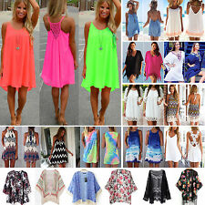 Women Boho Holiday MINI Dress Bikini Cover Up Kaftan Ladies Summer Sun Dress