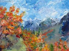 """Original Acrylic Painting of Landscape """"Mountain trail"""", Artist Signed, Autumn"""