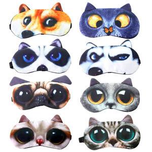 Adult  Kids Sleep Eye Mask 3D Animal Cartoon Dog Cat Blindfold Travel Eye Masks'