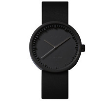 NEW LEFF AMSTERDAM TUBE WATCH D38 WITH BLACK LEATHER STRAP ANALOG DISPLAY BLACK
