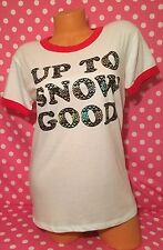 "Victoria's Secret Pink Christmas Holiday ""Up To Snow Good"" Tee Top Sz Medium NWT"