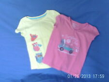 Girls 4-5 Years - Two T-Shirts - Pink & Yellow with Motifs - Gap