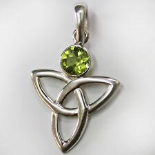 Peridot Anhänger Silber 925 Grün Elegant Sterlingsilber Celtic Triquetra ts
