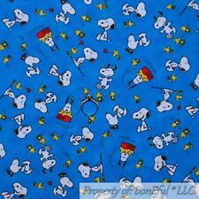 BonEful FABRIC Cotton Quilt Blue White SNOOPY Dog Woodstock Peanuts Boy NR SCRAP
