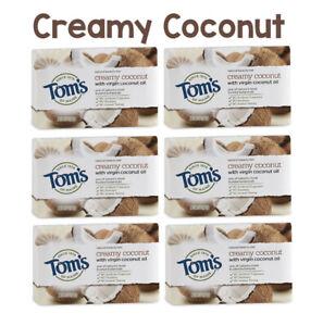 6x Tom's Natural Beauty Bar 5oz Soap (6-Bars) Coconut, Lavender or Eucalyptus