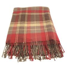 Woolrich Home Red Tan Throw Lap Blanket with Fringe Soft 52x60