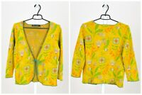 Womens Gudrun Sjoden Cotton Cardigan Jumper Floral Print 3/4 Sleeve Size S