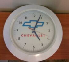 White Plastic CHEVROLET Wall Clock Battery Operated 13""