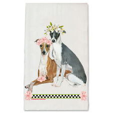 Italian Greyhound Dog Floral Kitchen Dish Towel Pet Gift