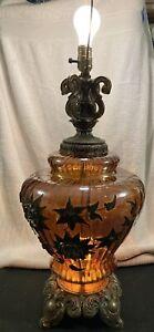 Falkenstein Amber Carnival Glass Hollywood Regency Gilded Lamp