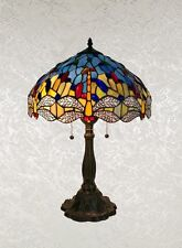 """Tiffany Style Lamp w/Yellow and Grey Dragonfly Table Lamp Shade 16"""""""