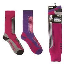 2 Pairs Ladies Ski Socks Sport Compression Purple Pink Storm Ridge UK 4-7 Padded