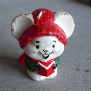 """Vintage 1981 Avon Small Carolling Mouse Candle 2 3/4"""" Tall"""