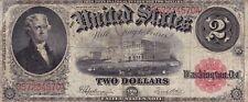 2 Dollar USA Series 1917 Banknote Thomas Jefferson rotes Siegel gebraucht III/IV