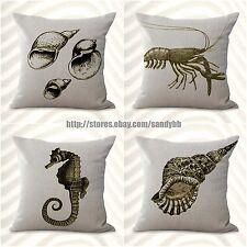 Us Seller-4pcs cushion covers boat octopus seashell discount decorative pillows