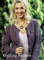 (942) Ladies/Girls Cardigan Copy Knitting Pattern, Aran yarn, 7 years - 46 inch