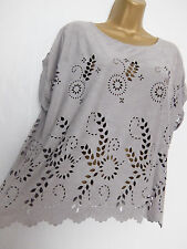BE BEAU ● size 16 ● grey soft cut out blouse top womens ladies