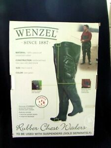 Wenzel Size 8 Green Chest Waders 100% Waterproof Vulcanized Rubber New In Box