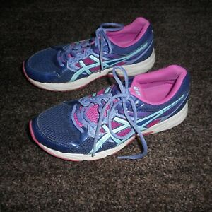 ASICS GEL-CONTEND 3 BLUE, PURPLE AND PINK GYM SHOES SIZE 8 1/2