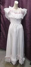 White Heart Lace Wedding / Gala Gown w/ Pink Ribbon sz S 34B 25W