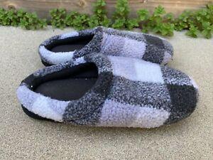 Men's Plaid Black Grey Fleece Slip On House Slippers Shoes | 9-10