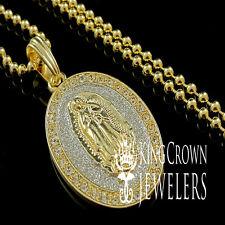 14K YELLOW GOLD FINISH LAB DIAMOND VIRGIN MOTHER MERRY CHARM PENDANT CHAIN SET