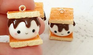 S'mores Clay Charm Kawaii Miniature Polymer Clay Gift Stitch Marker Planner Gift