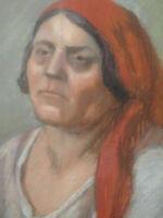 Unique grand pastel portrait femme au foulard années 20 - 30 grand format