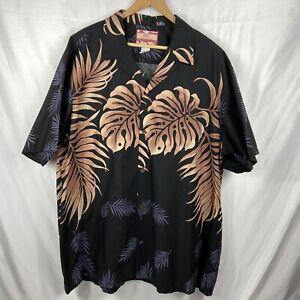 Men's RJC Hawaiian Shirt 100% Silk Size 2XL Short Sleeve Button Up Palm Leaves