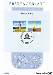BRD 2015: Leuchttürme Moritzburg und Lindau! Ersttagsblatt Nr 3156 + 3157! 21-09