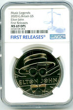 2020 GREAT BRITAIN 5PND ELTON JOHN NGC MS69 DPL FIRST RELEASES RARE PROOF LIKE !
