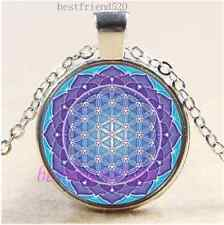 Lotus Flower Of LIfe Cabochon Glass Tibet Silver Chain Pendant Necklace