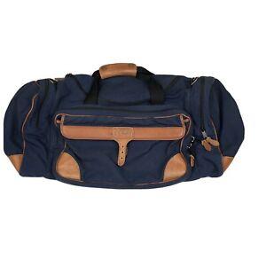 Vtg LL Bean Blue Canvas & Tan Leather Duffle Bag USA Maine 21 x 10 x 10