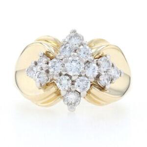 Yellow Gold Diamond Cluster Ring - 14k Round Brilliant Cut .98ctw