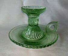 Vintage Beautiful Green Depression Glass Candle Holder with Finger Loop