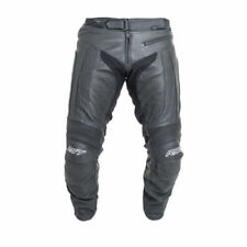 Pantalones de cuero de rodilla color principal negro para motoristas