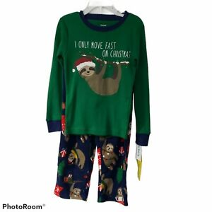 Carters Christmas 5t sloth pajamas 2 pc pjs unisex boy girl holiday red green