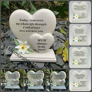 Double Heart Memorial Flower Graveside Remembrance Plaque Garden Tribute Grave