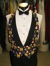 Mens Formal Vest Looney Tunes With Shawl Lapel Size Large Black Bow Tie