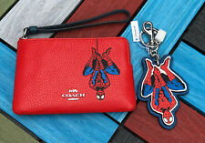 Coach Set of Marvel Spider Man Bag Charm and wristlet Bag  Limited Edition