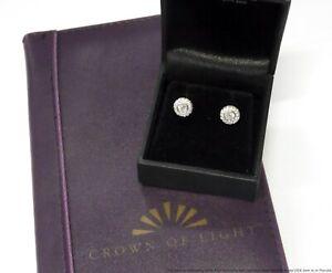 Crown of Light 0.54ctw EGL Certified Diamond Earrings 14k White Gold Halo Studs
