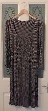 Phase Eight Grey Polkadot Pleat Ruche 3/4 Sleeve Jersey Stretch Dress Size 16