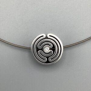 Atalier Verstraeten Steel & Diamond Pendant w/ Niessing 18k White Gold Neck Coil