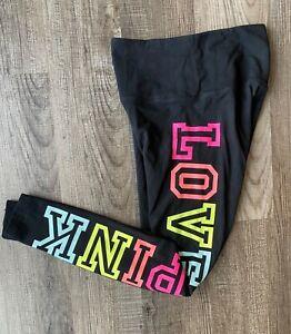 Victoria Secret PINK Small Leggings Yoga  Full Length Black Colorful Love Pink