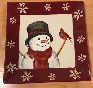 "St Nicholas Square YULETIDE  Snowman & Cardinal Plate Platter  8.5"" Holiday"